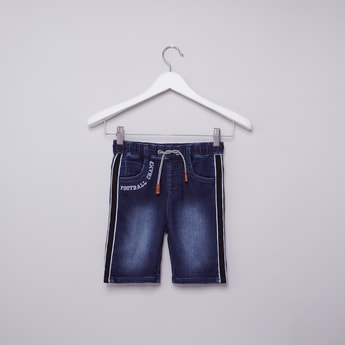 Tape Detail Denim Shorts with Elasticised Waistband and Drawstring