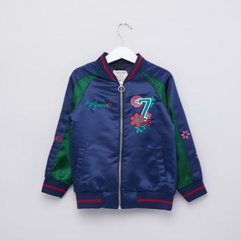 Embroidered Bomber Jacket with Raglan Sleeves and Zip Closure