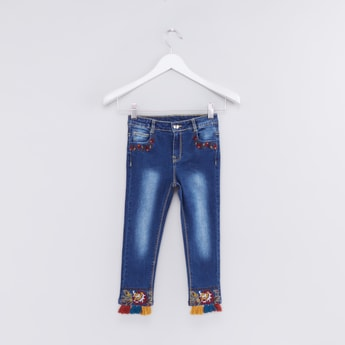Full Length Jeans with Button Closure and Tassels