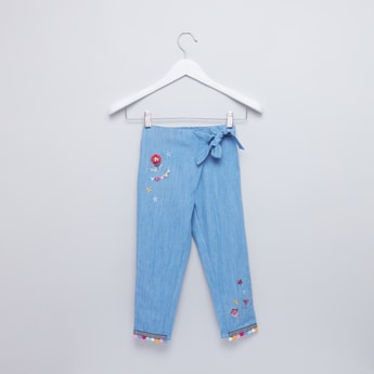 Woven Denim Pants with Embroidered Flowers and Tie Ups
