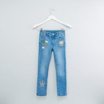 Applique Detail Jeans with Button Closure