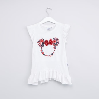 Minnie Mouse Embroidered Sequin Detail Top
