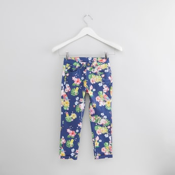 Printed Trousers with Button Closure and Pocket Detail