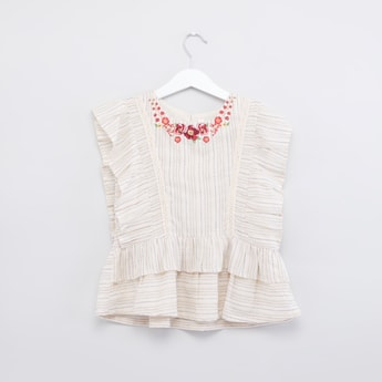 Textured Top with Round Neck and Ruffle Cap Sleeves