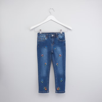 Floral Embroidered Jeans with Pockets