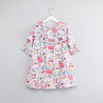 Floral Printed Dress with 3/4 Sleeves and Ruffle Detail