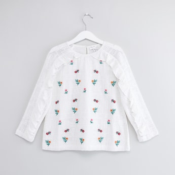 Floral Embroidered Top with Round Neck and Long Sleeves