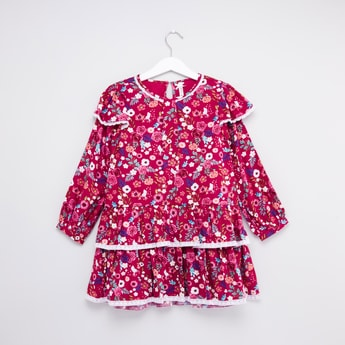 Floral Printed Dress with Long Sleeves and Frill Detail