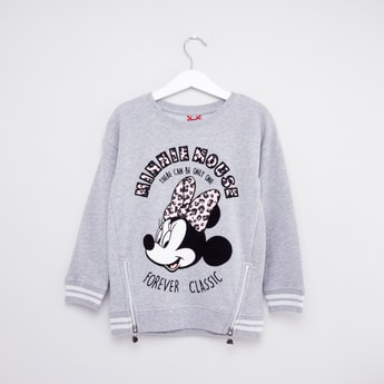 Minnie Mouse Printed Sweatshirt with Long Sleeves and Kangaroo Pockets