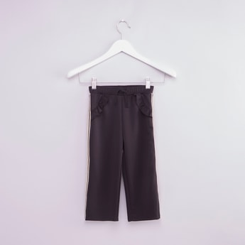 Textued Pants with Tape and Ruffle Detail