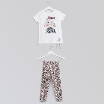 Graphic Printed T-shirt with Animal Print Leggings Set