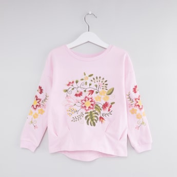 Floral Embroidered T-shirt with Round Neck and Long Sleeves