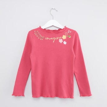 Ribbed T-shirt with Long Sleeves and Embroidery
