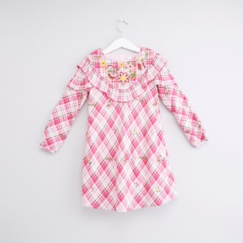 Chequered Dress with Long Sleeves and Embroidery
