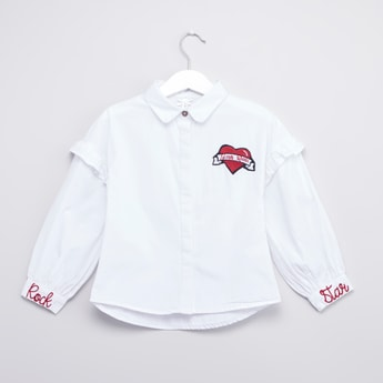 Embroidered Shirt with Long Sleeves and Ruffle Detail