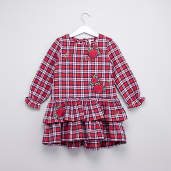 Chequered Dress with Long Sleeves and Frill Detail
