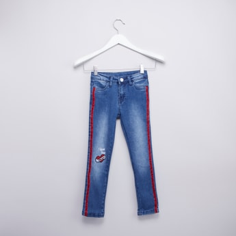Embroidered Jeans with Pocket Detail and Tape Detail
