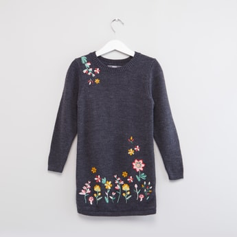 Floral Embroidered Round Neck Sweater Dress with Long Sleeves