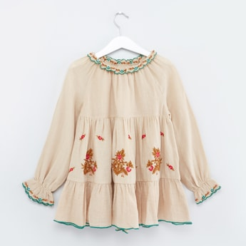 Embroidered Top with Long Sleeves