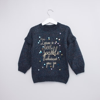 Printed Sweater with Long Sleeves and Embellishments