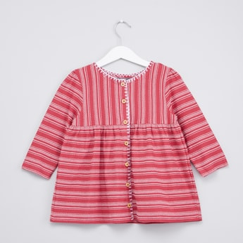 Striped Blouse with Round Neck and Long Sleeves