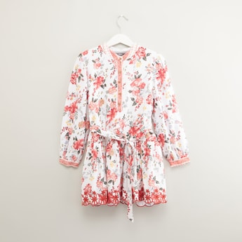 Floral Printed Dress with Mandarin Collar and Long Sleeves