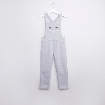 Textured Sleeveless Dungaree with Pocket Detail