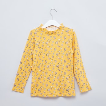 Floral Printed T-shirt with Ruffle Neck and Long Sleeves