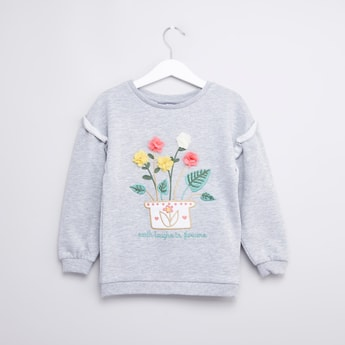 Flower Applique Detail Sweat Top with Round Neck and Long Sleeves
