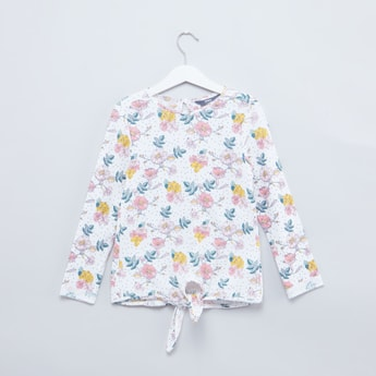 Floral Printed T-shirt with Tie Up and Long Sleeves