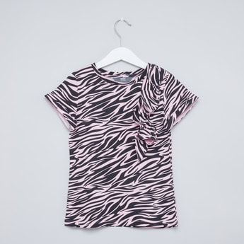 Zebra Print Round Neck T-shirt with Short Sleeves