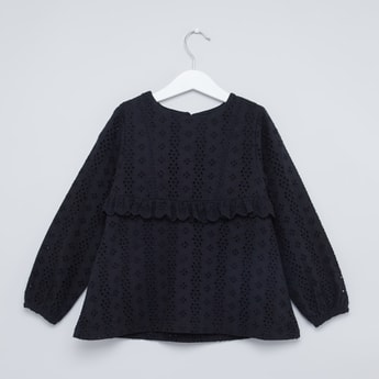 Broderie Detail Top with Round Neck and Long Sleeves