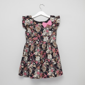 Floral Printed A-line Dress with Bow Detail