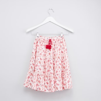 Printed Tiered Skirt with Elasticated Waistband