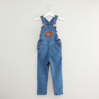 Embroidered Denim Dungarees with Pocket Detail