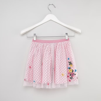 Chequered Gingham Skirt with Floral Embroidery
