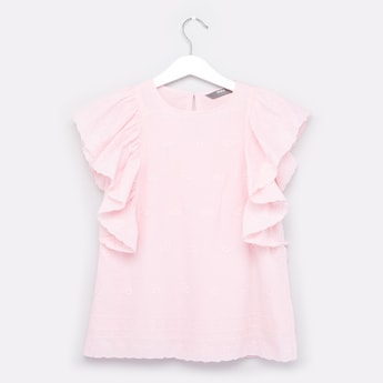 Plain Top with Round Neck and Frill Sleeves