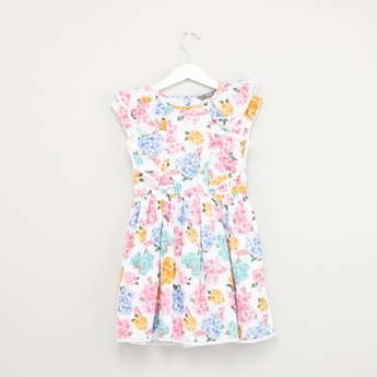 Floral Printed Dress with Ruffle Detail and Cap Sleeves