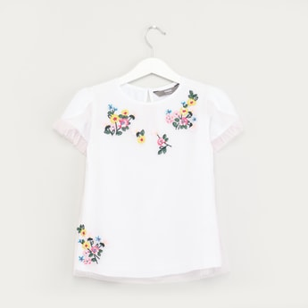 Embroidered Top with Short Sleeves