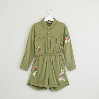 Floral Embroidered Playsuit