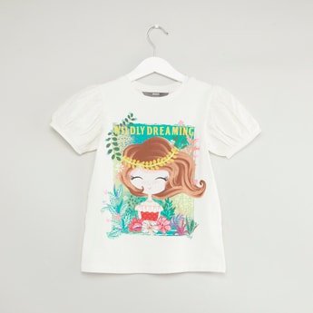 Graphic Printed Round Neck T-shirt with Balloon Sleeves