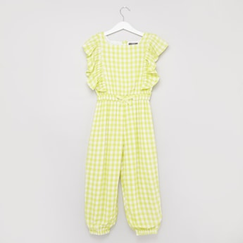 Checked Jumpsuit with Ruffle Detail