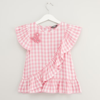 Checked Top with Round Neck and Cap Sleeves