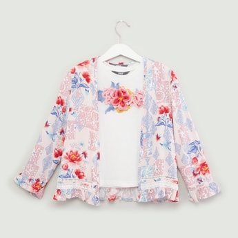 Embroidered Sleeveless T-shirt with Floral Printed Shrug