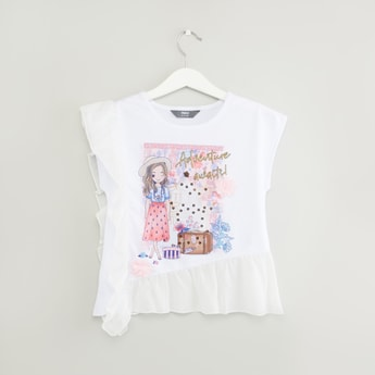 Printed T-shirt with Round Neck and Frill Detail