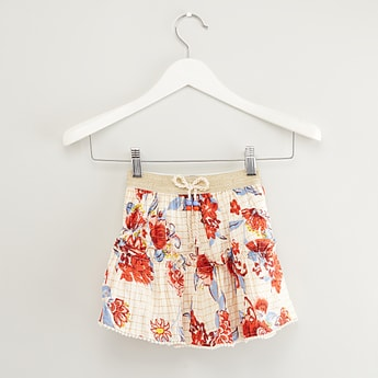 Floral Print Skirt with Tie Ups and Elasticised Waistband