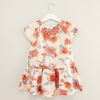 Floral Print Dress with Round Neck and Short Sleeves