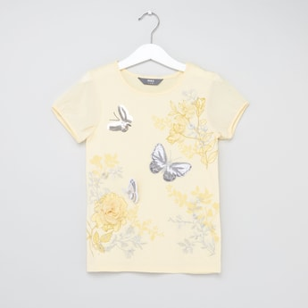 3D Butterfly Round Neck T-shirt with Short Sleeves