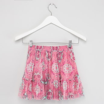 Printed Mesh Skirt with Frill Detail and Elasticised Waistband