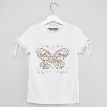 Embellished T-shirt with Round Neck and Tie Ups